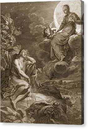 The Moon And Endymion, 1731 Canvas Print by Bernard Picart