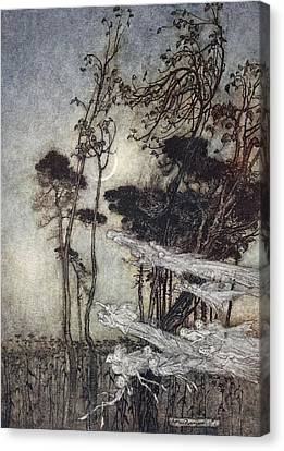 ..the Moon, Like To A Silver Bow Canvas Print by Arthur Rackham