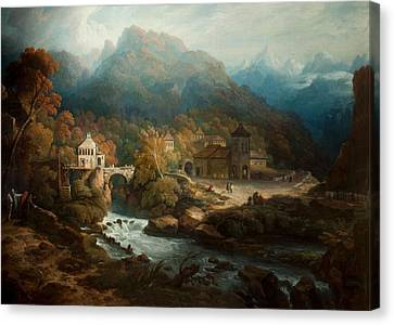 The Mountains Of Vietri Canvas Print by Philip Reinagle