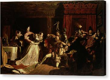 The Murder Of David Rizzio, 1833 Oil On Panel Canvas Print by Sir William Allan