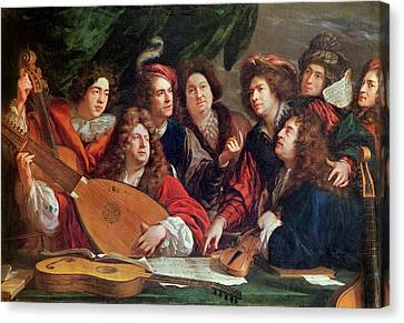 The Musical Society, 1688 Oil On Canvas Canvas Print by Francois Puget