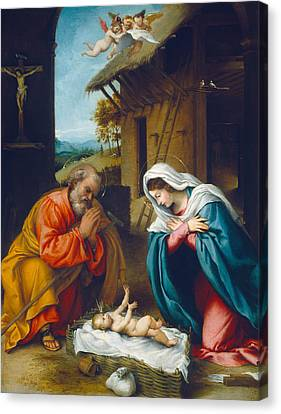 Male Angel Canvas Print featuring the painting The Nativity 1523 by Lorenzo Lotto