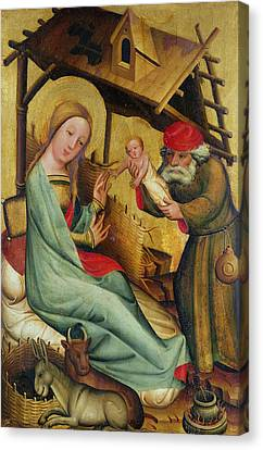 The Nativity From The High Altar Of St. Peters In Hamburg, The Grabower Altar, 1383 Tempera On Panel Canvas Print by Master Bertram of Minden