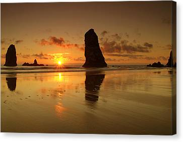 The Needles At Haystack - Cannon Beach Sunset  Canvas Print by Brian Harig
