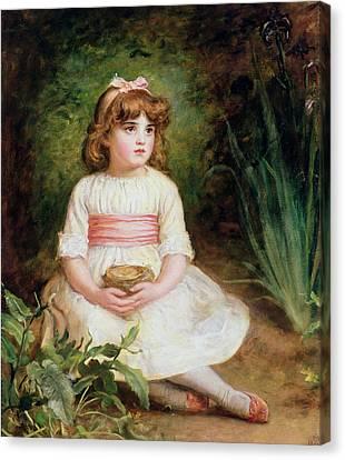The Nest Oil On Canvas Canvas Print by Sir John Everett Millais