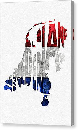 The Netherlands Typographic Map Flag Canvas Print by Ayse Deniz