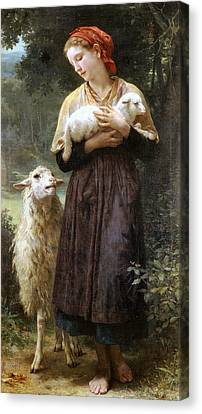 The Newborn Lamb Canvas Print by William Bouguereau