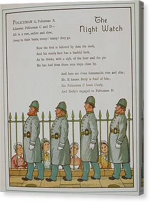 The Night Watch. Four Policeman Canvas Print by British Library