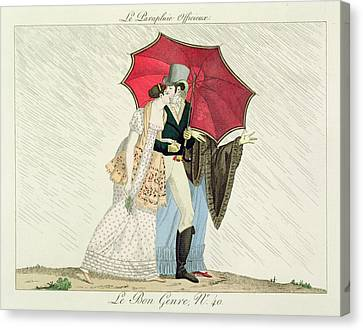 The Obliging Umbrella Canvas Print by French School
