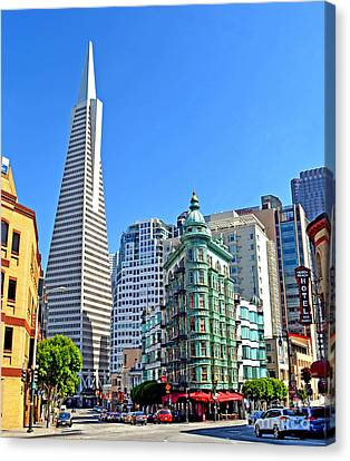 The Old And The New The Columbus Tower And The Transamerica Pyramid II Canvas Print by Jim Fitzpatrick