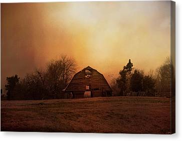 The Old Barn On A Fall Evening Canvas Print by Jai Johnson