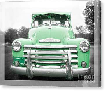 The Old Green Chevy Pickup Truck Canvas Print by Edward Fielding