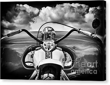 The Old Harley Monochrome Canvas Print by Tim Gainey