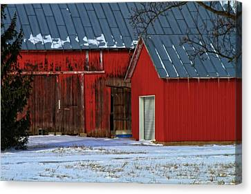 The Old Red Barn In Winter Canvas Print by Dan Sproul