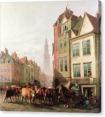 The Old Smithfield Market Canvas Print by Thomas Sidney Cooper