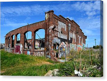 The Old Train Roundhouse At Bayshore Near San Francisco And The Cow Palace Canvas Print by Jim Fitzpatrick