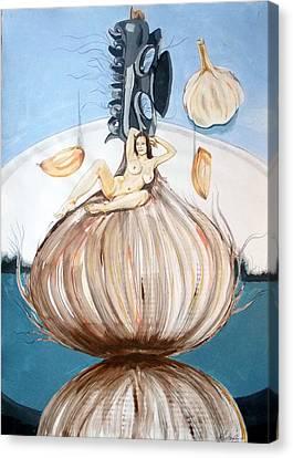The Onion Maiden And Her Hair La Doncella Cebolla Y Su Cabello Canvas Print by Lazaro Hurtado