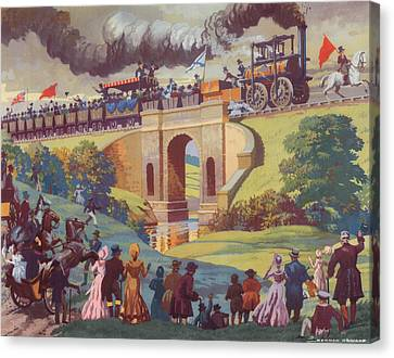 The Opening Of The Stockton And Darlington Railway Macmillan Poster Canvas Print by Norman Howard