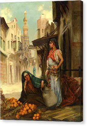 The Orange Seller Canvas Print by Fabbio Fabbi