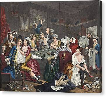 The Orgy, Plate IIi From A Rakes Canvas Print by William Hogarth