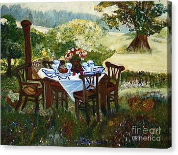 The Outdoor Gathering Canvas Print by Helena Bebirian