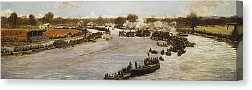 The Oxford And Cambridge Boat Race Canvas Print by James Macbeth