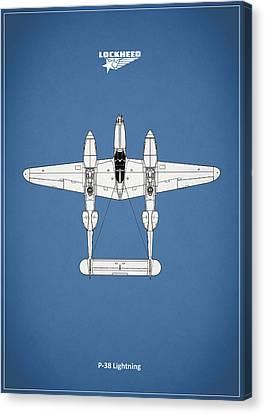 The P-38 Lightning Canvas Print by Mark Rogan