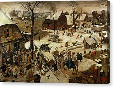 The Payment Of The Tithe Or The Census At Bethlehem Oil On Panel For Detail See 89722 Canvas Print by Pieter the Younger Brueghel