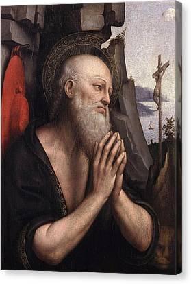 The Penitent St. Jerome Oil On Panel Canvas Print by Giovanni Pedrini Giampietrino