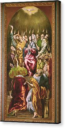 The Pentecost, C.1604-14 Oil On Canvas Canvas Print by El Greco