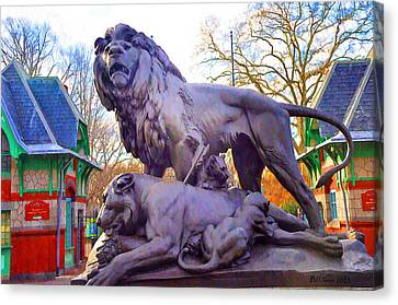 The Philadelphia Zoo Lion Statue Canvas Print by Bill Cannon