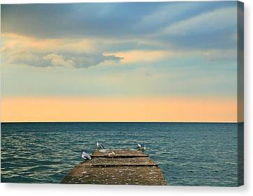 The Pier At Sunset Canvas Print by Heather Allen