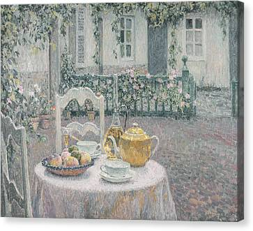 The Pink Tablecloth Canvas Print by Henri Eugene Augustin Le Sidaner