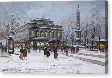 The Place Du Chatelet Paris Canvas Print by Eugene Galien-Laloue