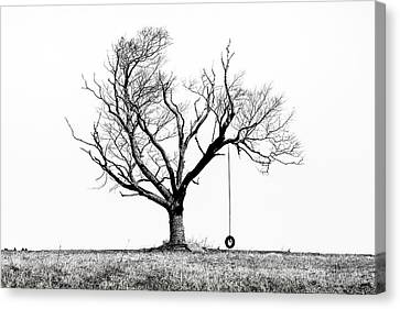 The Playmate - Old Tree And Tire Swing On An Open Field Canvas Print by Gary Heller