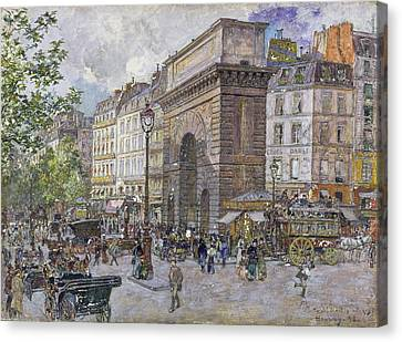 The Porte Saint-martin, 1898 Oil On Board Canvas Print by Frederic Anatole Houbron