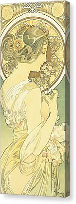 The Primrose Canvas Print by Alphonse Marie Mucha