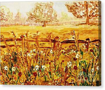 The Prince Of Wales Wild Flower Fields Canvas Print by Helena Bebirian