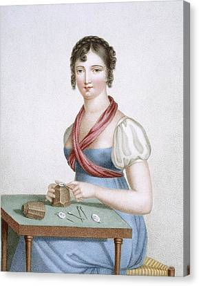 The Printmaker, Engraved By Augrand Canvas Print by Madame G. Busset-Dubruste
