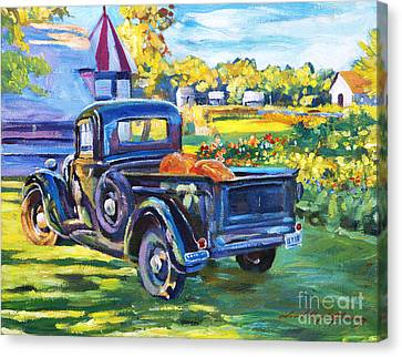 The Pumpkin Pickup Canvas Print by David Lloyd Glover