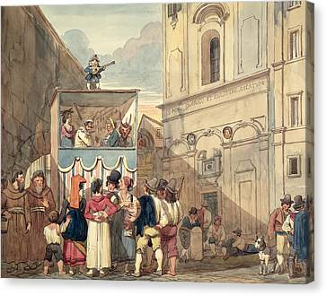 The Puppet Theatre Wc On Paper Canvas Print by Achille Pinelli