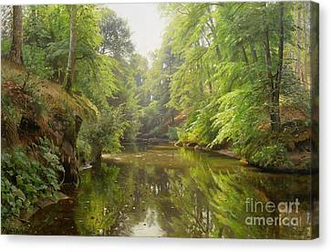 The Quiet River Canvas Print by Peder Monsted
