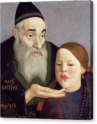 The Rabbi And His Grandchild, 1913 Canvas Print by Mark Gertler