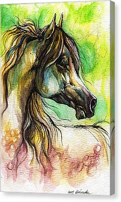 The Rainbow Colored Arabian Horse Canvas Print by Angel  Tarantella
