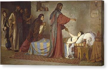 The Raising Of Jairus' Daughter Canvas Print by Vasilij Dmitrievich Polenov