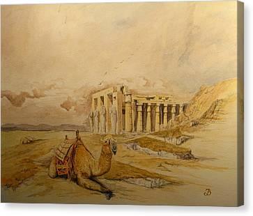 The Ramesseum Theban Necropolis Egypt Canvas Print by Juan  Bosco