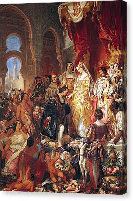 The Reception Of Christopher Columbus By Ferdinand II Of Aragon And Isabella Canvas Print by Eugene Deveria