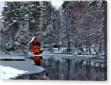 The Red Boathouse - Old Forge Ny Canvas Print by David Patterson