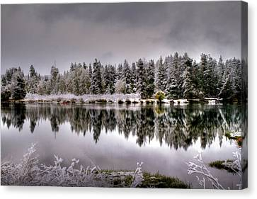 The Red Canoe Canvas Print by Donna Kennedy