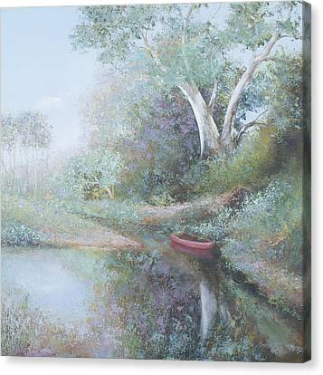 The Red Canoe Canvas Print by Jan Matson